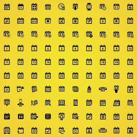 calendar 100 icons universal set for web and mobile.