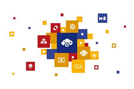 SaaS Infographic 10 steps pixel design. cloud storage, configuration, software, database icons