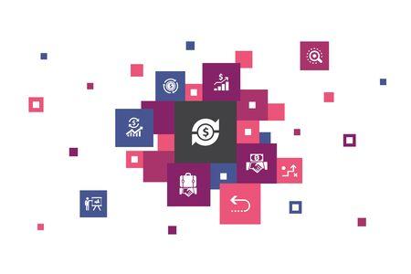 ROI Infographic 10 steps pixel design. investment, return, marketing, analysis icons Ilustração