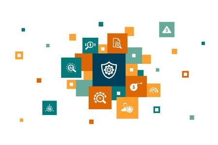 risk management Infographic 10 steps pixel design. control, identify, Level of Risk, analyze icons