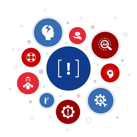 problem Infographic 10 steps bubble design. solution, depression, analyze, resolve icons Çizim