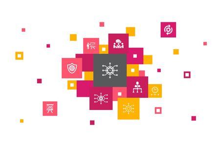 Project management Infographic 10 steps pixel design. Project presentation, Meeting, workflow, Risk management icons Illustration