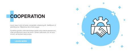 cooperation icon, banner outline template concept. cooperation line illustration