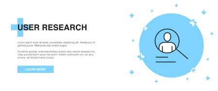 User research icon, banner outline template concept. User research line illustration