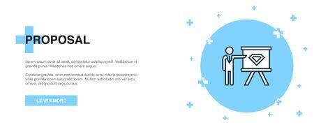 proposal icon, banner outline template concept. proposal line illustration