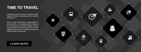 time to travel banner 10 icons concept.hotel booking, map, airplane, train simple icons