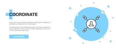 coordinate icon, banner outline template concept. coordinate line illustration