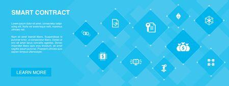 Smart Contract banner 10 icons concept.blockchain, transaction, decentralization, fintech simple icons