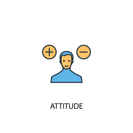 attitude concept 2 colored icon. Simple blue element illustration. attitude concept symbol design. Can be used for web and mobile UI Banque d'images - 131035070