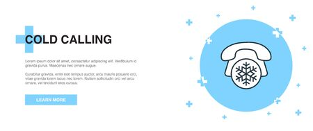 Cold Calling icon, banner outline template concept. Cold Calling line illustration