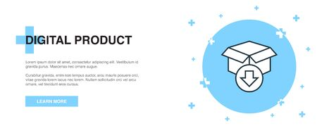 digital product icon, banner outline template concept. digital product line illustration