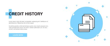 Credit history icon, banner outline template concept. Credit history line illustration Illustration