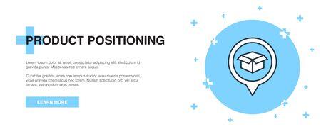 Ikona pozycjonowania produktu, koncepcja szablonu baneru konspektu. Ilustracja linii pozycjonowania produktu Ilustracje wektorowe