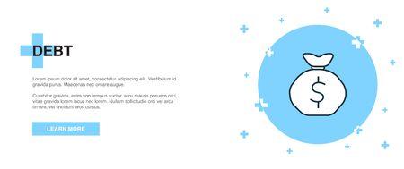 Debt icon, banner outline template concept. Debt line illustration Ilustração