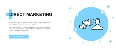 Direct Marketing icon, banner outline template concept. Direct Marketing line illustration
