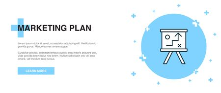 marketing plan icon, banner outline template concept. marketing plan line illustration