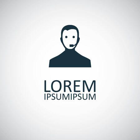 modèle de concept de symbole simple à la mode de l'icône de l'homme de soutien en ligne