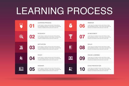 learning process Infographic 10 option template. research, motivation, education, achievement icons Çizim