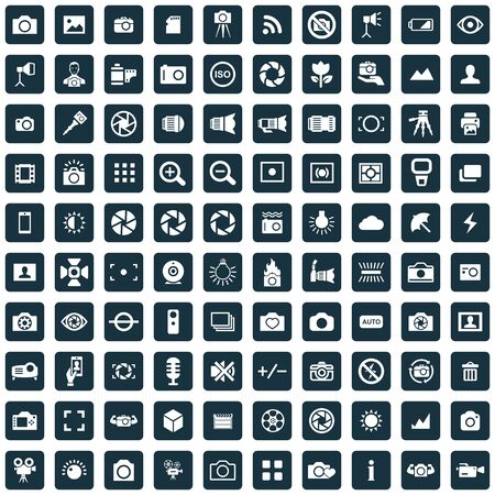 photography 100 icons universal set for web and UI Illustration