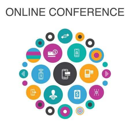 online conference Infographic circle concept. Smart UI elements group chat, online learning, webinar, conference