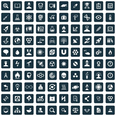 science 100 icons universal set for web and UI