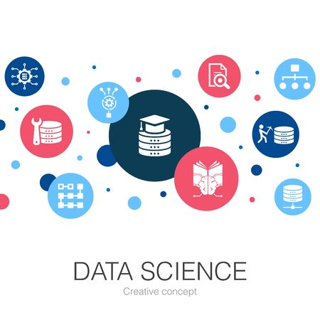 Data Science trendy circle template with simple icons. Contains such elements as machine learning, Big Data, Database