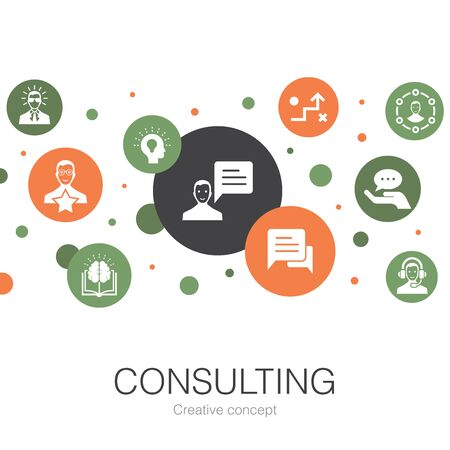Consulting trendy circle template with simple icons. Contains such elements as Expert, knowledge, experience Ilustrace