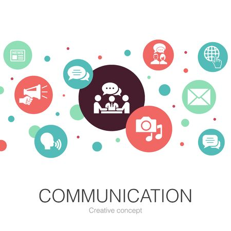 communication trendy circle template with simple icons. Contains such elements as internet, message, discussion