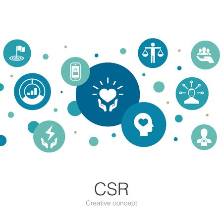 CSR trendy circle template with simple icons. Contains such elements as responsibility, sustainability, ethics