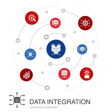 Data integration colored circle concept with simple icons. Contains such elements as database, data scientist, Analytics Illustration