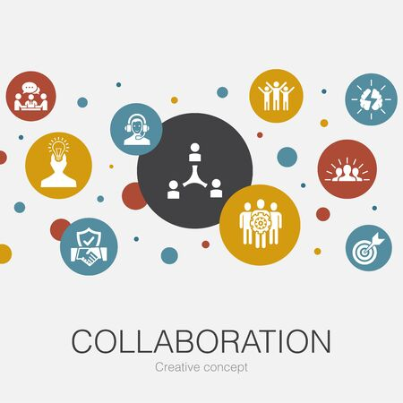 collaboration trendy circle template with simple icons. Contains such elements as teamwork, support, communication