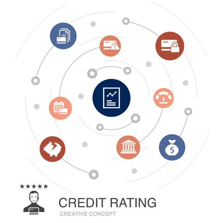credit rating colored circle concept with simple icons. Contains such elements as Credit risk, Credit score, Bankruptcy, Fee Иллюстрация