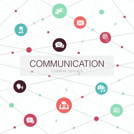 communication trendy web template with simple icons. Contains such elements as internet, message, discussion Çizim