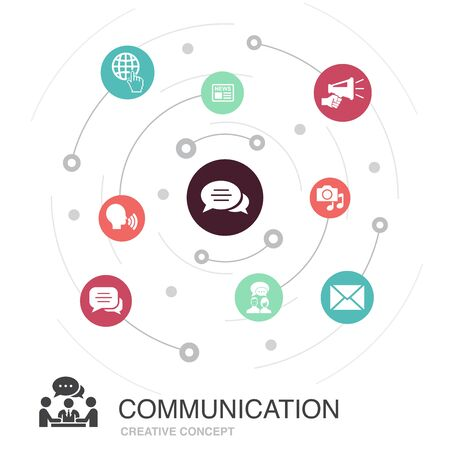 communication colored circle concept with simple icons. Contains such elements as internet, message, discussion Çizim