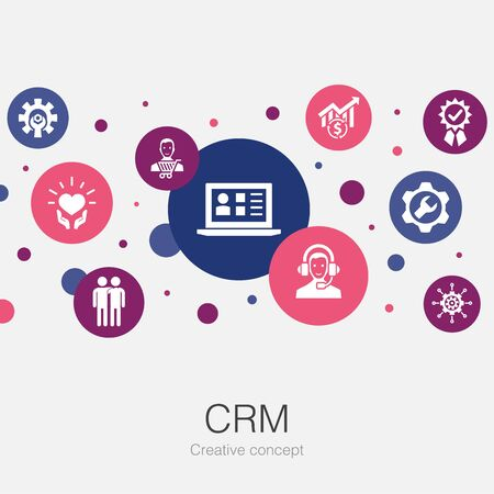 CRM trendy circle template with simple icons. Contains such elements as customer, management, relationship