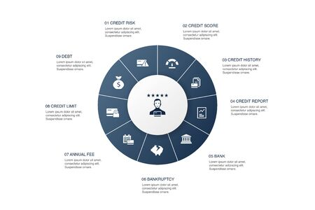 CRM Infographic 10 steps circle design. vision, brainstorm, collaboration, project simple icons