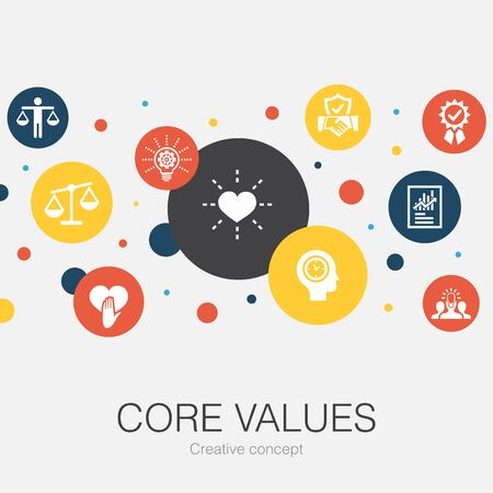 Core values trendy circle template with simple icons. Contains such elements as trust, honesty, ethics
