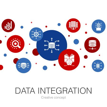 Data integration trendy circle template with simple icons. Contains such elements as database, data scientist, Analytics, Learning