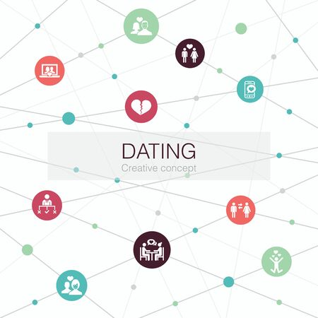 Dating trendy web template with simple icons. Contains such elements as couple in love, fall in love, dating app