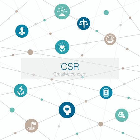 CSR trendy web template with simple icons. Contains such elements as responsibility, sustainability, ethics