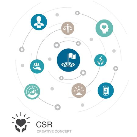CSR colored circle concept with simple icons. Contains such elements as responsibility, sustainability, ethics