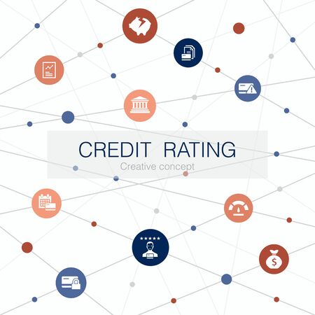 credit rating trendy web template with simple icons. Contains such elements as Credit risk, Credit score, Bankruptcy, Fee 스톡 콘텐츠 - 131190694