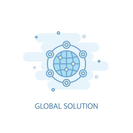 global solution line concept. Simple line icon, colored illustration. global solution symbol flat design. Can be used for UI Foto de archivo - 131116402