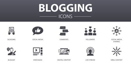 blogging simple concept icons set. Contains such icons as social media, Comments, Blogger, digital content and more, can be used for web Stock Vector - 131279364