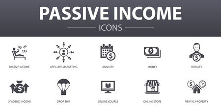 passive income simple concept icons set. Contains such icons as affiliate marketing, dividend income, online store, rental property and more, can be used for web