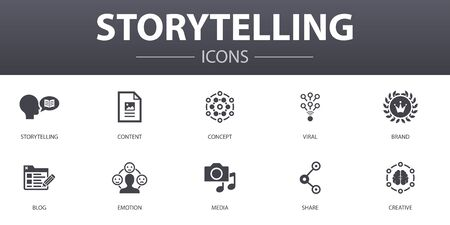 storytelling simple concept icons set. Contains such icons as content, viral, blog, emotion and more, can be used for web Фото со стока - 131279367