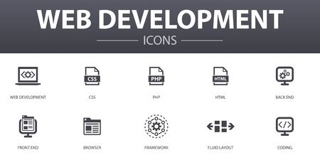web development simple concept icons set. Contains such icons as back end, front end, browser, fluid Layout and more, can be used for web