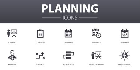 planning simple concept icons set. Contains such icons as calendar, schedule, timetable, Action Plan and more, can be used for web