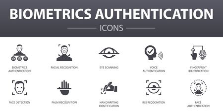 Biometrics authentication simple concept icons set. Contains such icons as facial recognition, face detection, fingerprint identification, palm recognition and more, can be used for web Иллюстрация