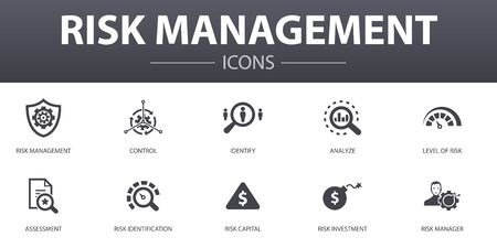 risk management simple concept icons set. Contains such icons as control, identify, Level of Risk, analyze and more, can be used for web Illusztráció